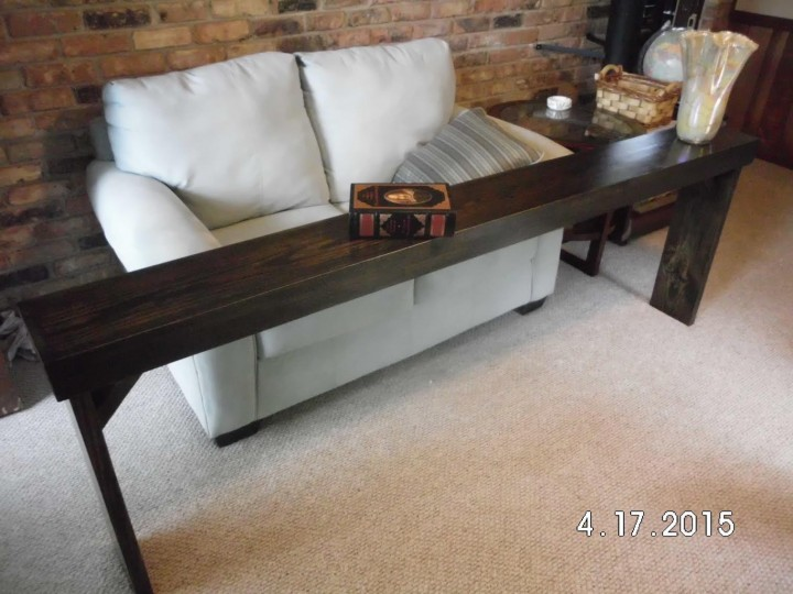 Custom built behind-sofa table in Brookhaven, GA